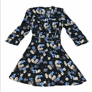 Zara Basic Collection black floral dress size XS